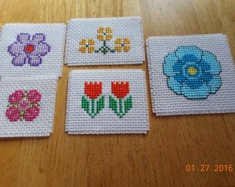 Flower Magnets cross stitch magnets  SET OF 5 kitchen magnets locker magnets