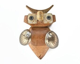 "Horned OWL, 5"" tall, an abstract mixed media assemblage, primitive folk art bird, by Elizabeth Rosen"