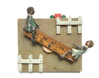 See Saw Margery Daw, mixed media assemblage, found object art, wood wall art,  nursery rhyme art by Elizabeth Rosen