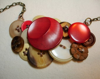 FOXY GIRL -Button Necklace - Vintage Buttons - Fox button -RED -Brown - Cream  - Brown necklace