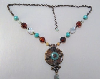 Turquoise and Amber Antiqued Pendant Necklace