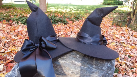 Black Felt Witch Hat - Adult Witch Hat - Witch Costume