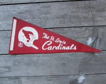 Vintage Football Pennant St.Louis Cardinals 5 x 11 Inch 1980s Era NFL Small Mini Felt Pennant Banner Flag Distressed Vintage Display Sports