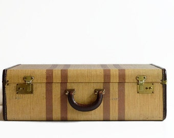 vintage striped tweed suitcase with key 1940s luggage