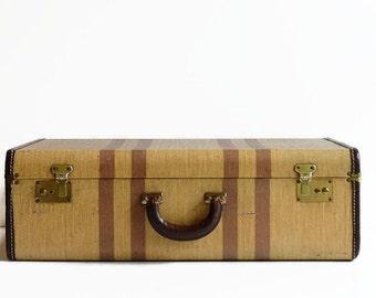vintage large striped tweed suitcase with key 1940s luggage