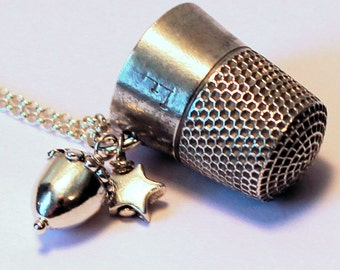 Antique Thimble Peter Pan Hidden Kisses Solid Sterling Silver Necklace Second Star Right