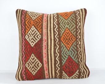 Handmade Wool Pillow Cover, Bohemian Pillow, Kilim pillow, Kilim Pillow Cover nkp127, Turkish Pillow, Bohemian Decor, Moroccan Pillow, Kilim