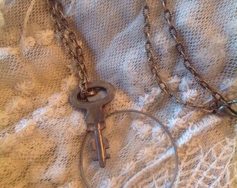 Antique optometrist lens skeleton key necklace SALE