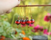 Rose Hips. Red orange copper colours, large stitch markers, elegant OOAK, jewelry type knit markers, snag free markers, huge rondelle beads