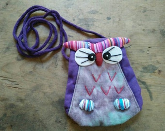 Purple Owl Zipper Pouch / Coin purse/ Kids / Gift / Handmade Fabric / tie-dyeing