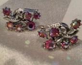 Coro signed pink aurora borealis clip vintage earrings wedding
