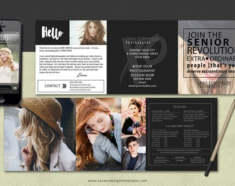 Marketing Trifold Template, Marketing Templates for Photographers, Senior Marketing Templates, Photoshop Templates, Branding Package,  SM302