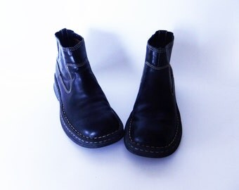 black leather ankle boots, casual boots, slip on boots, grunge boots, walking boots