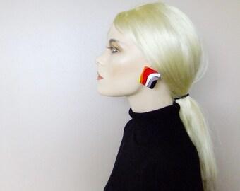 multi colored earrings, square earrings, 80s earrings, oversized vintage earrings, geometric earrings