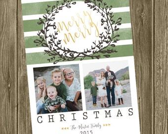 Photo Christmas Card - Wreath/Watercolor/2 photos