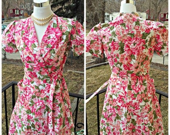 Vintage 1940s 1950s Floral Print Wrap Dress House Dress  Small Medium New Old Stock Rockabilly VLV