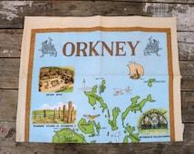 Cotton Tea towel, Orkney, crisp, Skarabrae, Standing Stones, Old Man of Hoy, St. Magnus Cathedral, fswp