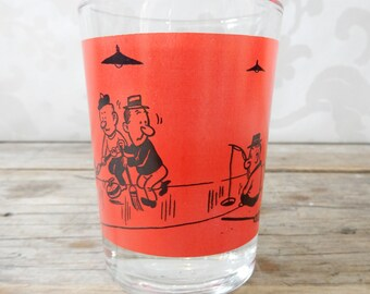 Curling Cartoon Glass, 1 Large Shot Glasses, 1960's, Funny Barware, sports, sport theme, glassware