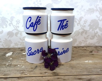 Vintage Canister Set, French and English Ceramic Pottery collectible Hornsea England, wood lids, Blue and white striped