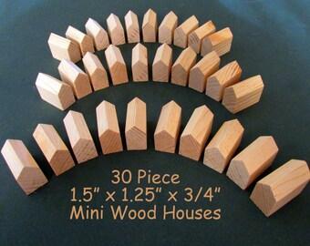 30 Piece Miniature DIY Wood Houses ONE Size