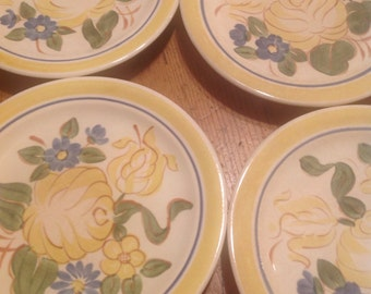 """4 Red Wing 5"""" Bread and Butter Plates, Hand Painted, Brittany Pattern, Buy 1 or All"""
