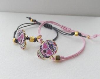 Day Of The Dead Bracelets, Skull bracelet, gold DOD skull, pink bracelet, grey bracelet, cotton cord bracelet, Sugar Skull bracelet