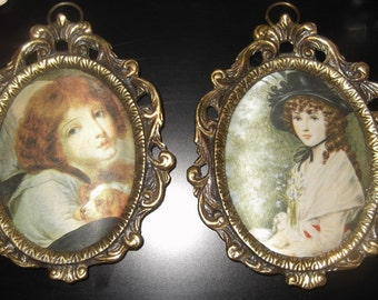 Vintage Wall Hangings Set Of Two Cameo Victorian Style Wall Decor in Metal Frames
