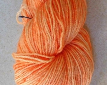 Christmas in July Peach Orange 4 Soft Superwash Handdyed Bluefaced Leicester - Wool Fingering Sock Weight Yarn 3-ply For Knitting and Croche