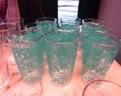 Vintage Drinking Glasses/Vintage Barware Set of Nine Glasses/Gold Rimmed