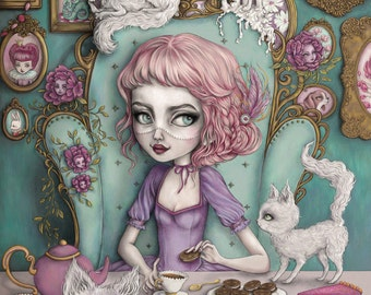 The Cookie Committee - Limited Edition Fine Art Print - Inspired by Alice in Wonderland, Marie Antoinette, Cookies, Cats and Fairytales