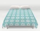 36 colours, Daisy Flower Pattern Aqua Duvet Cover, Aqua bedroom decor, Aqua Sky queen duvet cover, king duvet cover, double duvet cover