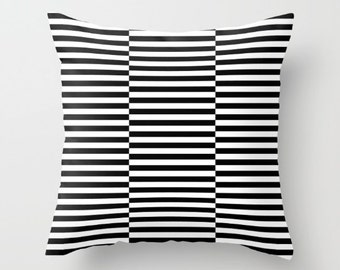 36 colours, Triple Offset Stripe Pattern decorative pillow cover, Black and White Offset Striped pillow cover, Indoor or Outdoor cover
