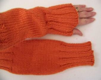 Hand Knit Wrist Warmers / Fingerless Gloves / Texting Gloves Tangerine (Orange) Acrylic Yarn