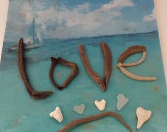 Driftwood - Love - 2 Sea glass Hearts - 3 Coral Hearts -  DIY Bride - Beach Wedding Decor - Hawaii - DIY wall decor - Beach Cottage