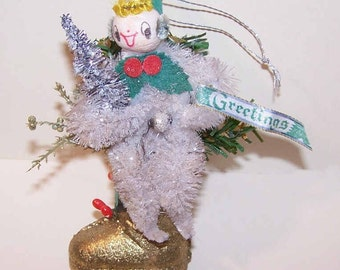 Vintage Ornament, Vintage CHRISTMAS Ornament, Christmas, Chenille, Pixie, Glitter Boot, Christmas Decoration, Made in Japan, Handmade