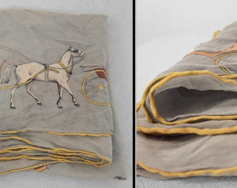 Horse and Buggy Scarf Silk 1950s Periwinkle Blue Yellow 34 x 34 Inches