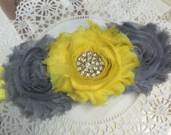 Baby head band, toddler headband, girl wedding accessory, girl hair accessory, yellow headband,yellow flowers,baby  photo prop, gray yellow