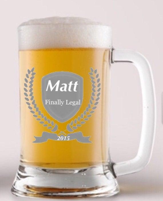 21st Birthday Etched Mug Mugs Stein Birthday Beer Glass