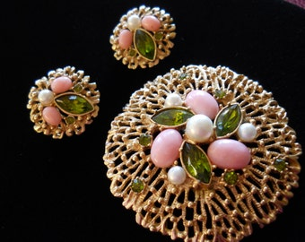 Signed Sarah Coventry Fashion Splendor Brooch & Earring Set Vintage