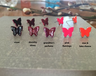 BUTTERFLY >> pink flamingo >> SALE << cuz everyone should have neon pink butterfly studs >> duh