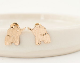 18k Gold elephant studs, Free spirited, Tiny elephant, Elephant jewelry, lucky earrings, Lucky elephant, Baby shower gift, 18k gold plated