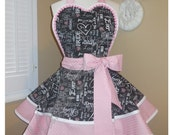 Wedding Print Accented With Pink & Silver Metallic Polka Dots Woman's Retro Apron, Featuring Heart Shaped Bib...Ready To Ship