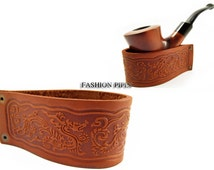 New Genuine Leather Pipe Stand Rack Holder Rest for Tobacco Smoking Pipe, Fits Most Pipes, Handmade.