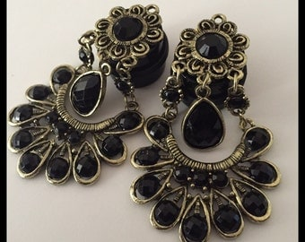 PICK SIZE rhinestone bohemian  Girly Ear Guages Dangle Plugs