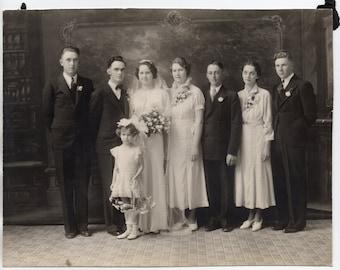 Antique Wedding Photograph Bride And Groom Bridal Party Flower Girl Vintage Photo Paper Ephemera