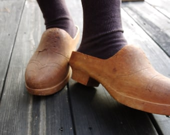Vintage Netherlands WORN wooden shoes, Hand carved wood shoes, Holland clogs......