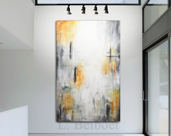 Large modern wall art XXL abstract painting original 38 x 60 gray sienna contemporary abstract acrylic fine art by L.Beiboer FREE Shipping