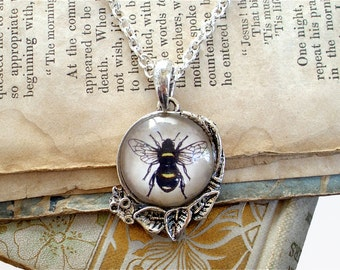 Honey Bee Necklace - Antique Insect Print Pendant in Silver - Bumble Bee