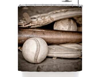 Shower Curtain Baseball Shower Curtain Sports Shower Curtain Boys Bathroom Decor Baseball