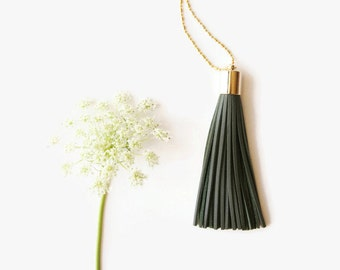 Army Green Boho Necklace - Long Tassel Necklace Army Green Leather
